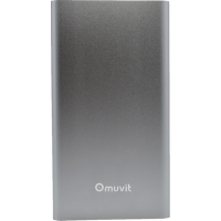 Muvit battery pack ultra thin with micro USB cable - silver - 5000 mAh